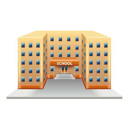 photorealistic: School building isolated on white photo-realistic vector illustration