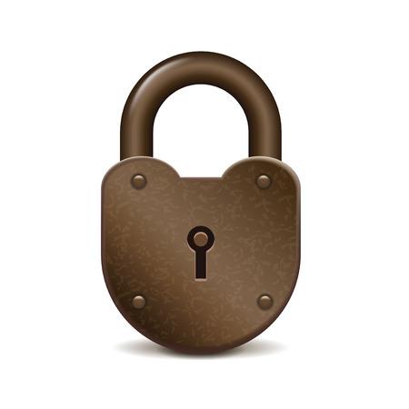photorealistic: Retro lock isolated on white photo-realistic vector illustration