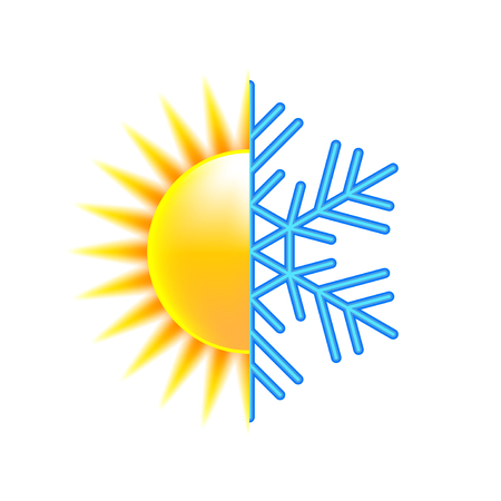white winter: Winter and summer icon isolated on white photo-realistic vector illustration