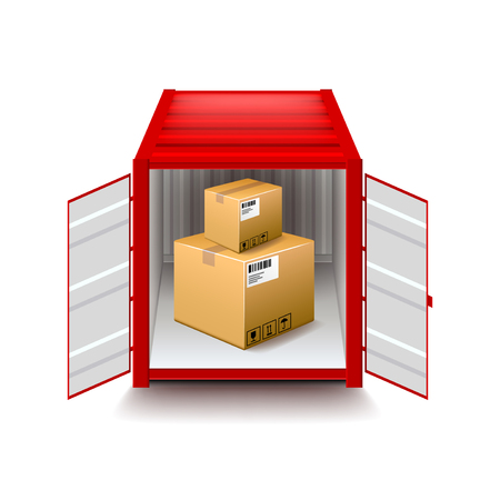 photorealistic: Opened container isolated on white photo-realistic vector illustration Illustration