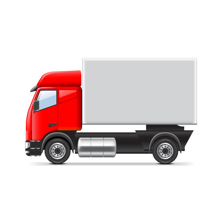 white car: Red and white truck isolated realistic vector illustration