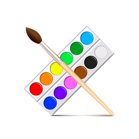 paint palette: Watercolor paint palette isolated on white photo-realistic vector illustration Illustration