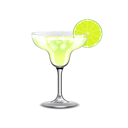 Margarita cocktail isolated on white photo-realistic vector illustration
