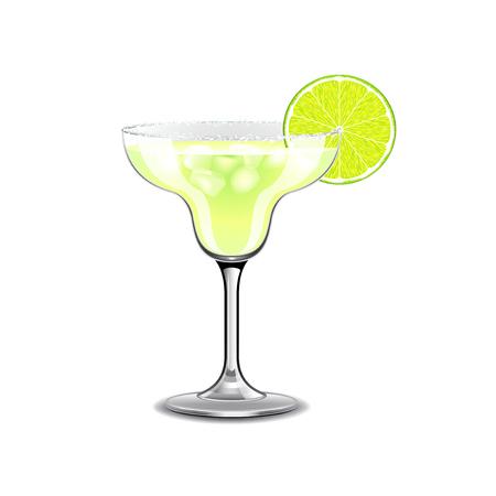 margarita cóctel: Margarita cóctel aislado en blanco ilustración vectorial foto-realista