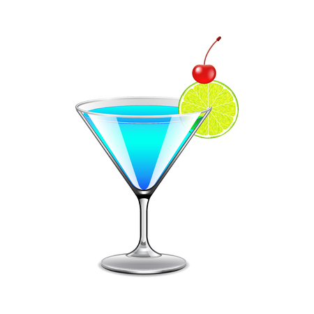 blue lagoon: Blue lagoon cocktail isolated on white photo-realistic vector illustration
