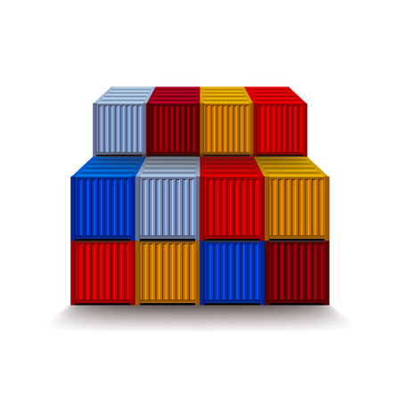 dockyard: Containers isolated on white photo-realistic vector illustration
