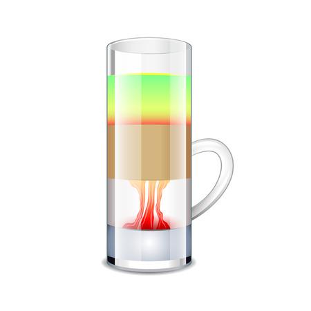 malibu: Hiroshima cocktail isolated on white photo-realistic vector illustration