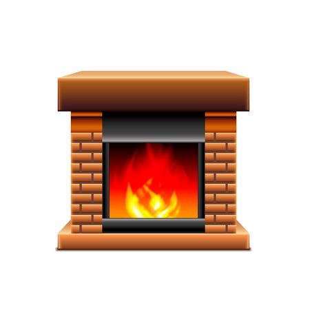 photorealistic: Fireplace isolated on white photo-realistic vector illustration