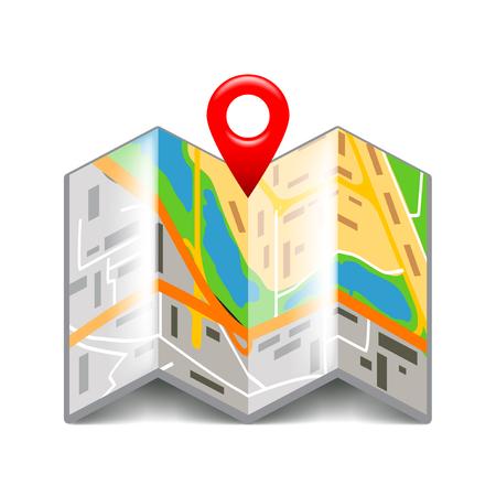 photorealistic: Folded map isolated on white photo-realistic vector illustration