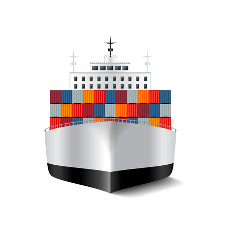 bulk carrier: Cargo ship isolated on white photo-realistic vector illustration