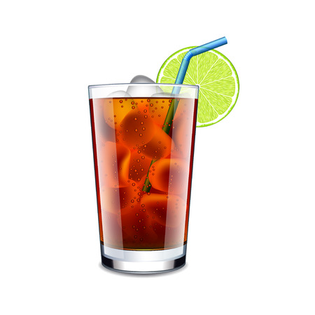 aperitif: Long island cocktail isolated on white photo-realistic vector illustration Illustration