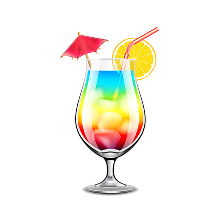 photorealistic: Rainbow cocktail isolated on white photo-realistic vector illustration