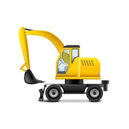 yellow earth: Excavator isolated on white photo-realistic vector illustration