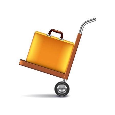 photorealistic: Luggage cart isolated on white photo-realistic vector illustration