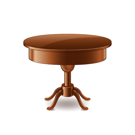 side table: Wooden table isolated on white photo-realistic vector illustration