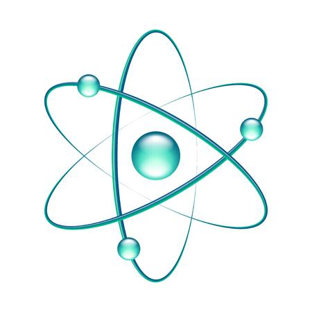 Atom isolated on white photo-realistic vector illustration