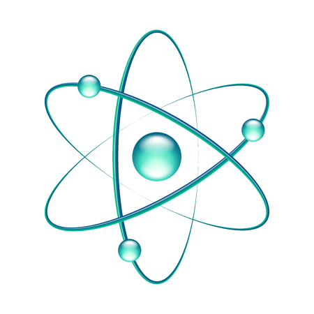 Atom isolated on white photo-realistic vector illustration