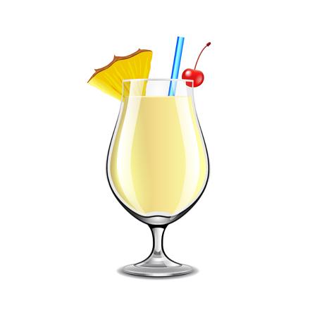 Pina Colada cocktail geïsoleerd op witte foto-realistische vectorillustratie Stockfoto - 51562231