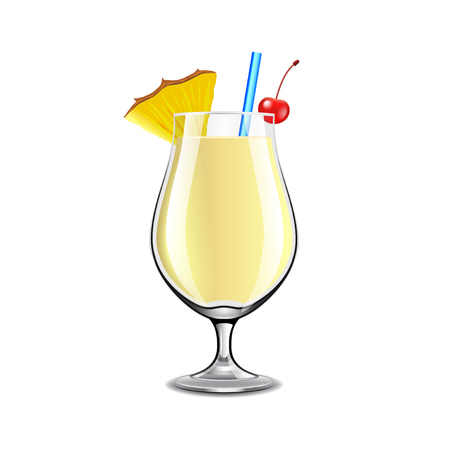 Pina colada cocktail isolated on white photo-realistic vector illustration