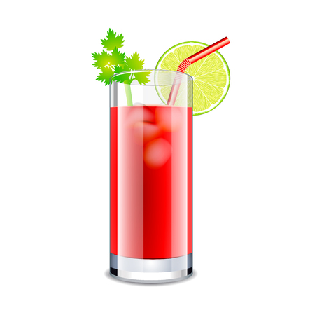 Bloody mary cocktail isolated on white photo-realistic vector illustration