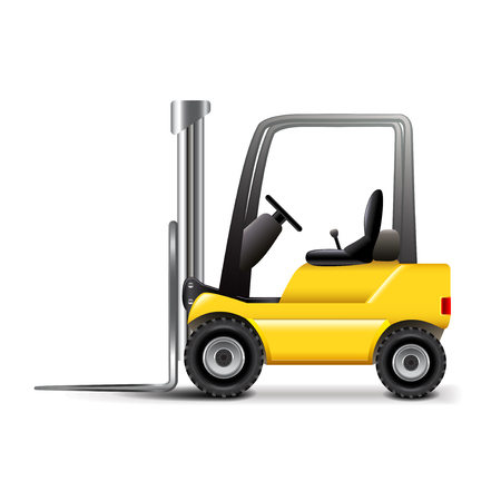 photorealistic: Forklift isolated on white photo-realistic vector illustration