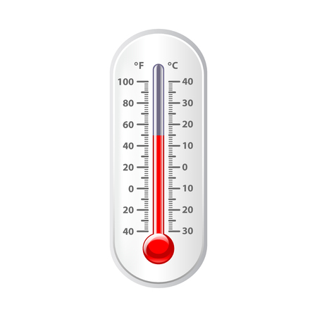 photorealistic: Weather thermometer isolated on white photo-realistic vector illustration