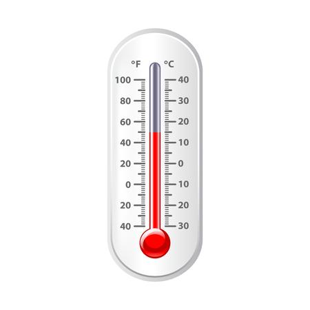 Weer thermometer die op wit foto-realistische vectorillustratie Stock Illustratie
