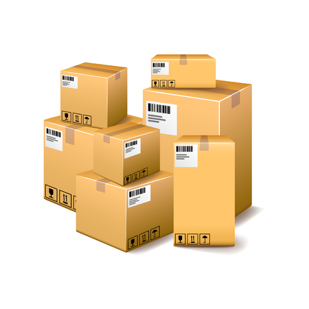 photorealistic: Cardboard boxes isolated on white photo-realistic vector illustration