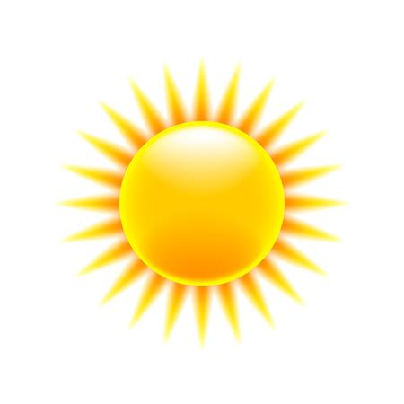 sun background: Cartoon sun icon isolated on white vector Illustration