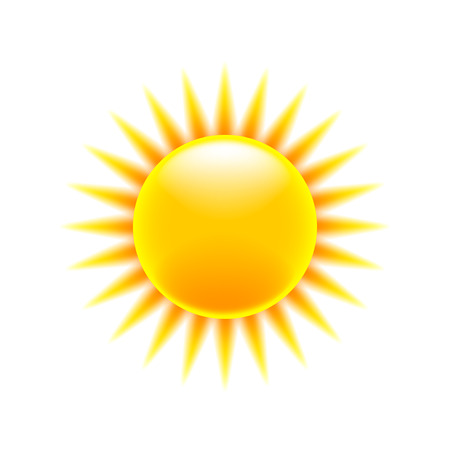 Cartoon sun icon isolated on white vector Illustration