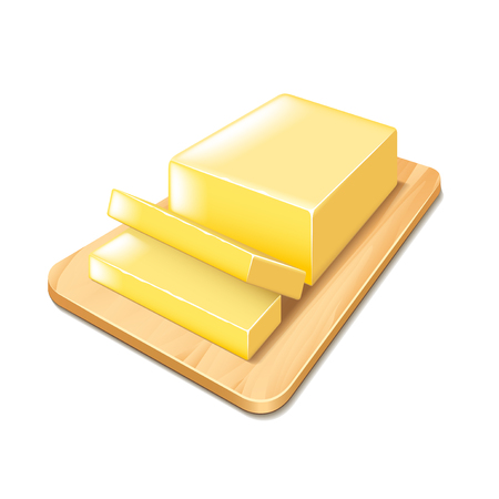 mantequilla: Mantequilla en el corte aislado Tablón de ilustración vectorial foto-realista