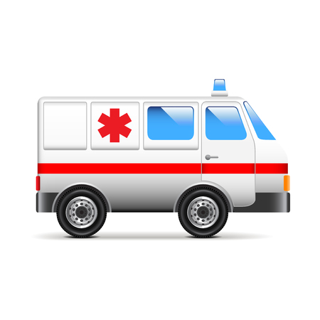 emt: Ambulance isolated on white photo-realistic vector illustration Illustration