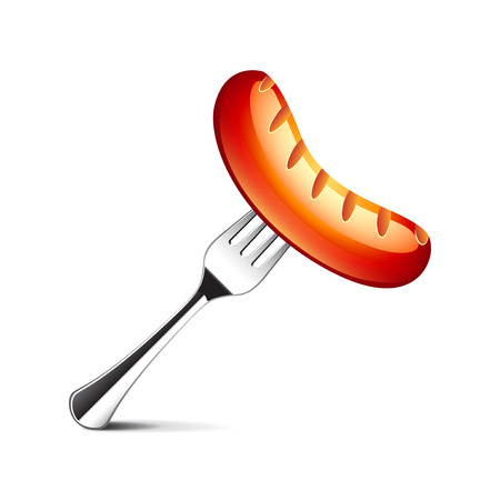fried: Sausage on fork isolated photo-realistic vector illustration Illustration