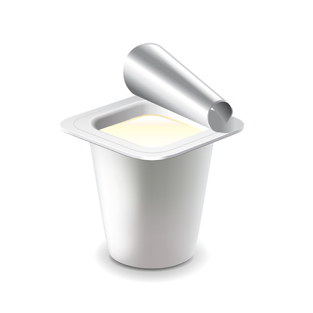 yogurt: Yogurt in plastic cup isolated on white photo-realistic vector illustration