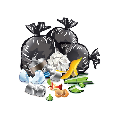 managing waste: Waste isolated on white photo-realistic vector illustration