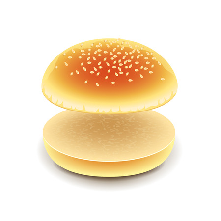 starch: Empty hamburger isolated on white photo-realistic vector illustration