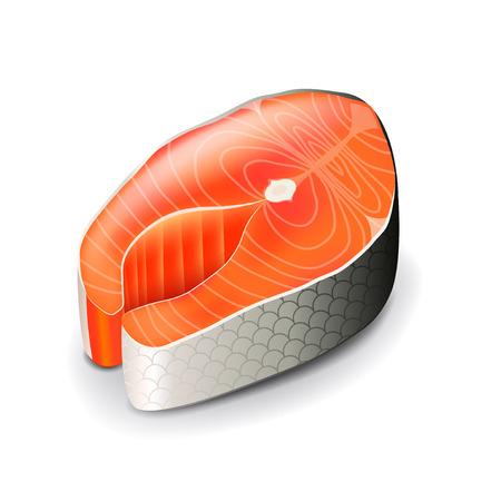 Pavé de saumon isolé sur la photo-réaliste blanc illustration vectorielle