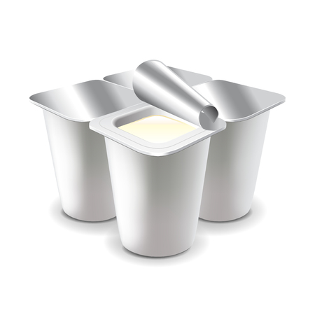 Four yogurt cups isolated on white photo-realistic vector illustration