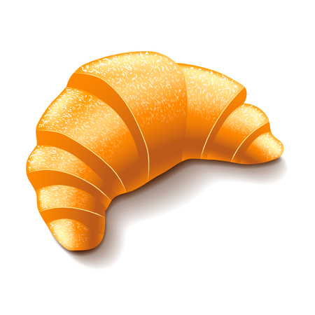 french culture: Croissant isolated on white photo-realistic vector illustration