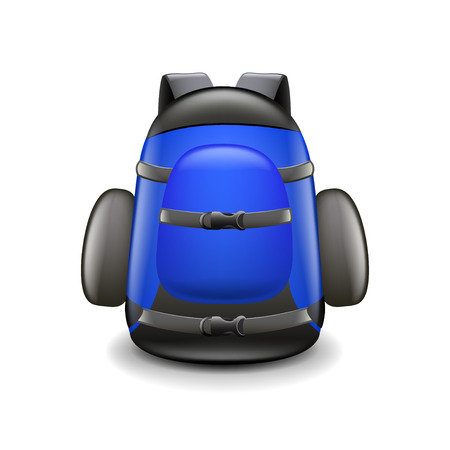 backpack: Backpack isolated on white photo-realistic vector illustration Illustration