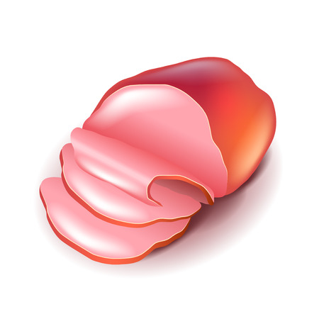 sliced: Ham isolated on white photo-realistic vector illustration