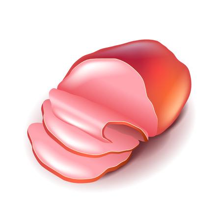 Ham isolated on white photo-realistic vector illustration