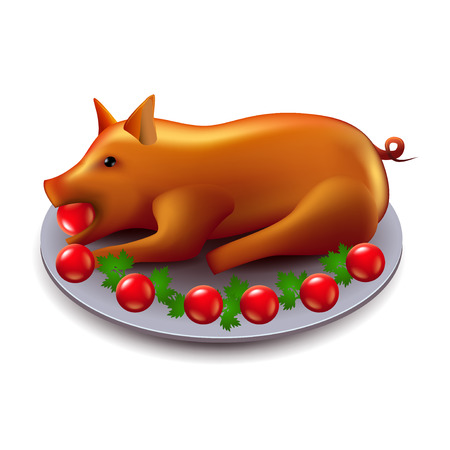 pig roast: Baked pig isolated on white photo-realistic vector illustration Illustration