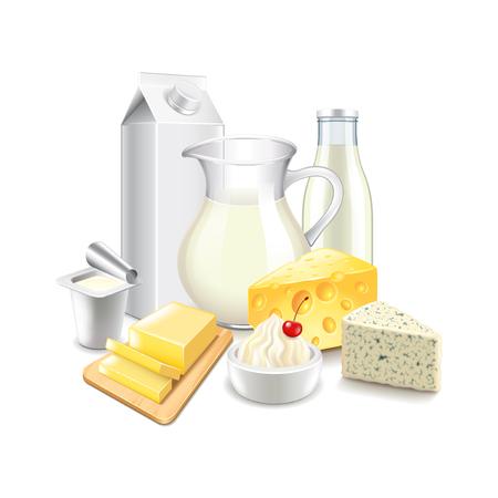 Los productos lácteos aislados en blanco ilustración vectorial foto-realista