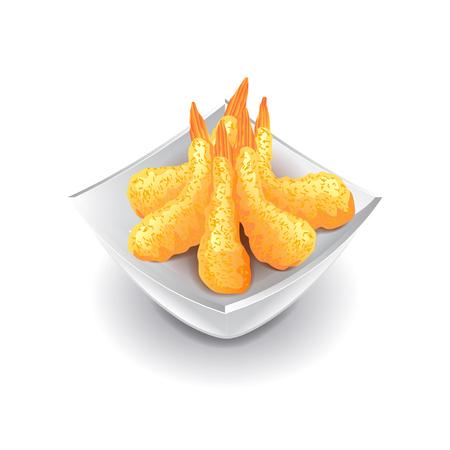 photorealistic: Shrimp tempura isolated on white photo-realistic vector illustration