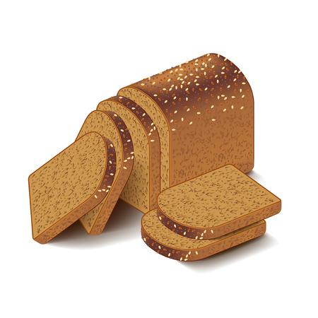 whole grain: Whole grain sliced bread isolated on white photo-realistic vector illustration Illustration