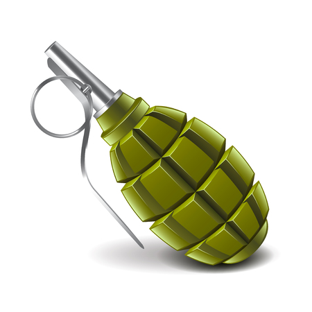 munition: Grenade isolated on white photo-realistic vector illustration