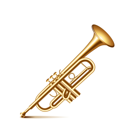 white clip: Trumpet isolated on white photo-realistic vector illustration