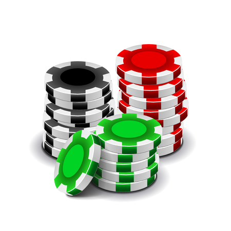casino chips: Casino chips isolated on white photo-realistic vector illustration Illustration