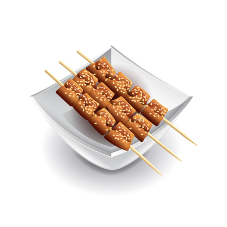 soy sauce: Yakitori skewers isolated on white photo-realistic vector illustration